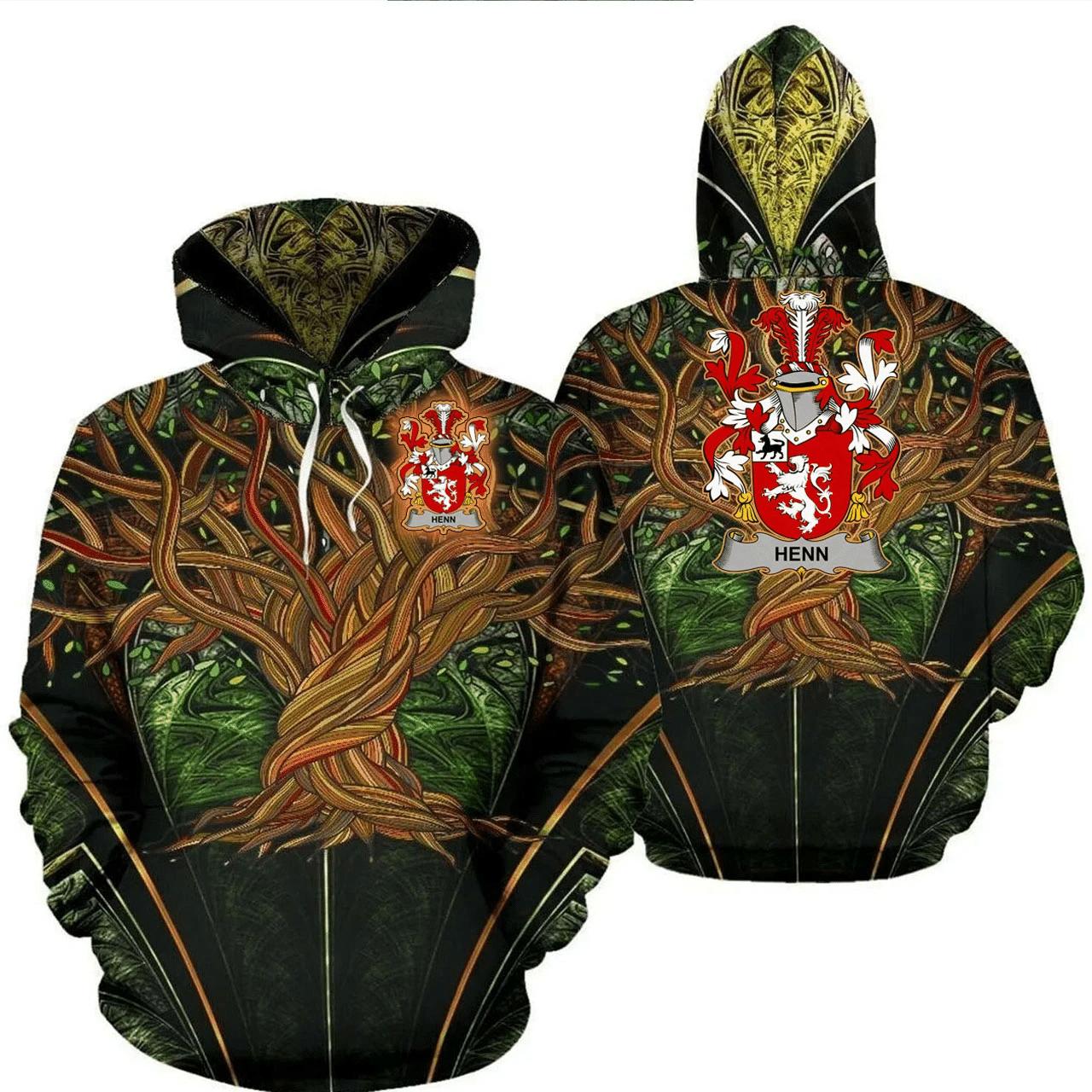 1stIreland Ireland Hoodie - Henn Irish Family Crest Hoodie - Tree Of Life A7