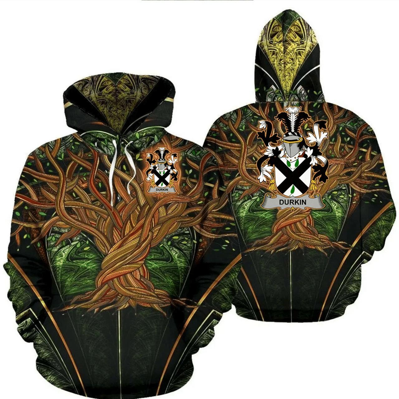 1stIreland Ireland Hoodie - Durkin or O'Durkin Irish Family Crest Hoodie - Tree Of Life A7