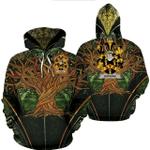 1stIreland Ireland Hoodie - Hopkins Irish Family Crest Hoodie - Tree Of Life A7