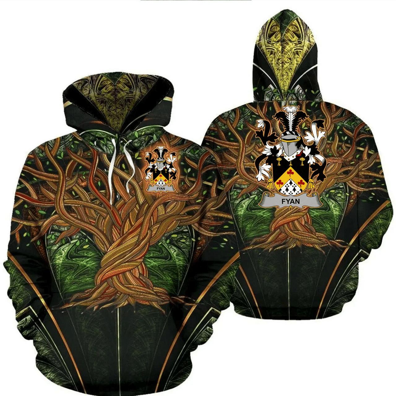 1stIreland Ireland Hoodie - Fyan or Faghan Irish Family Crest Hoodie - Tree Of Life A7