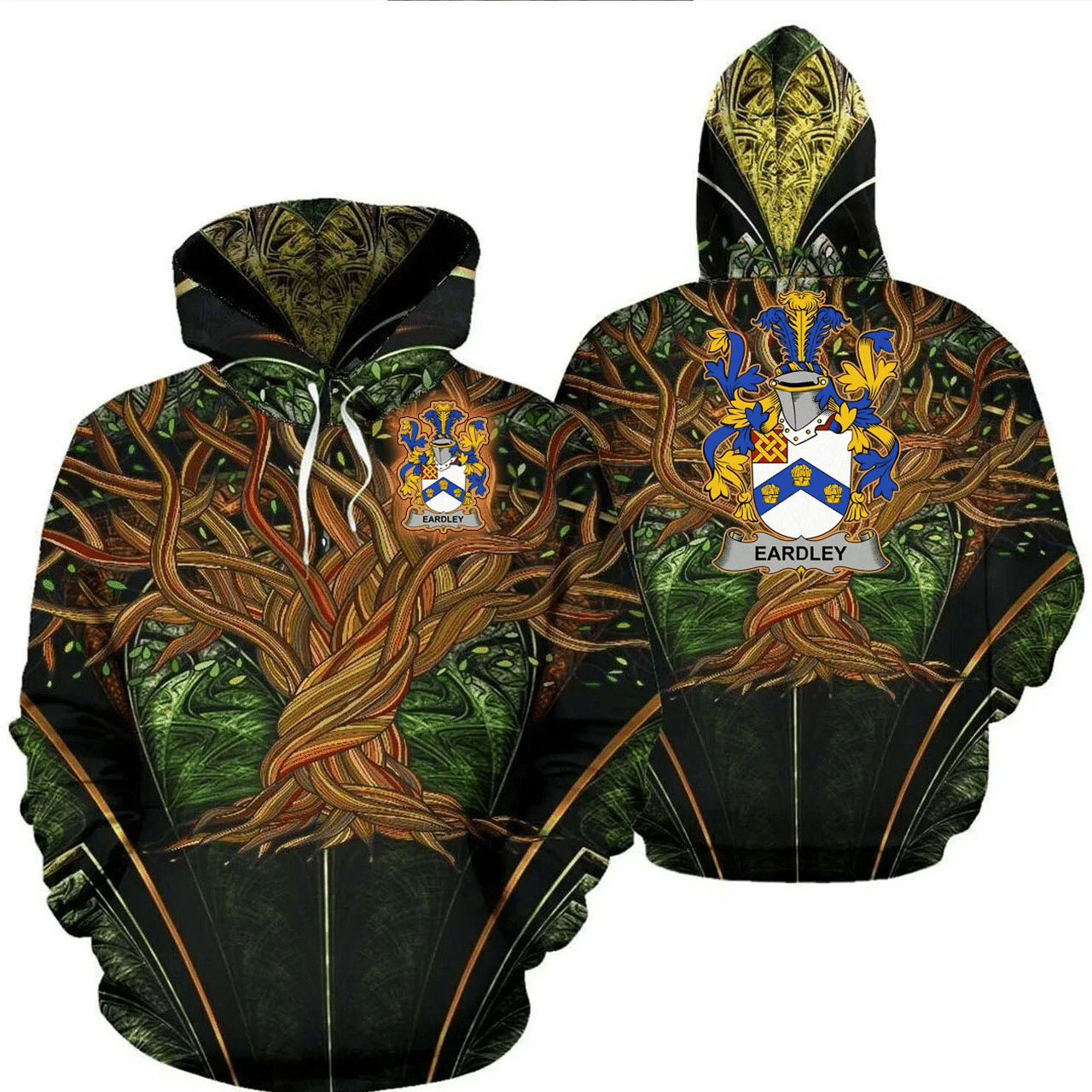 1stIreland Ireland Hoodie - Eardley Irish Family Crest Hoodie - Tree Of Life A7