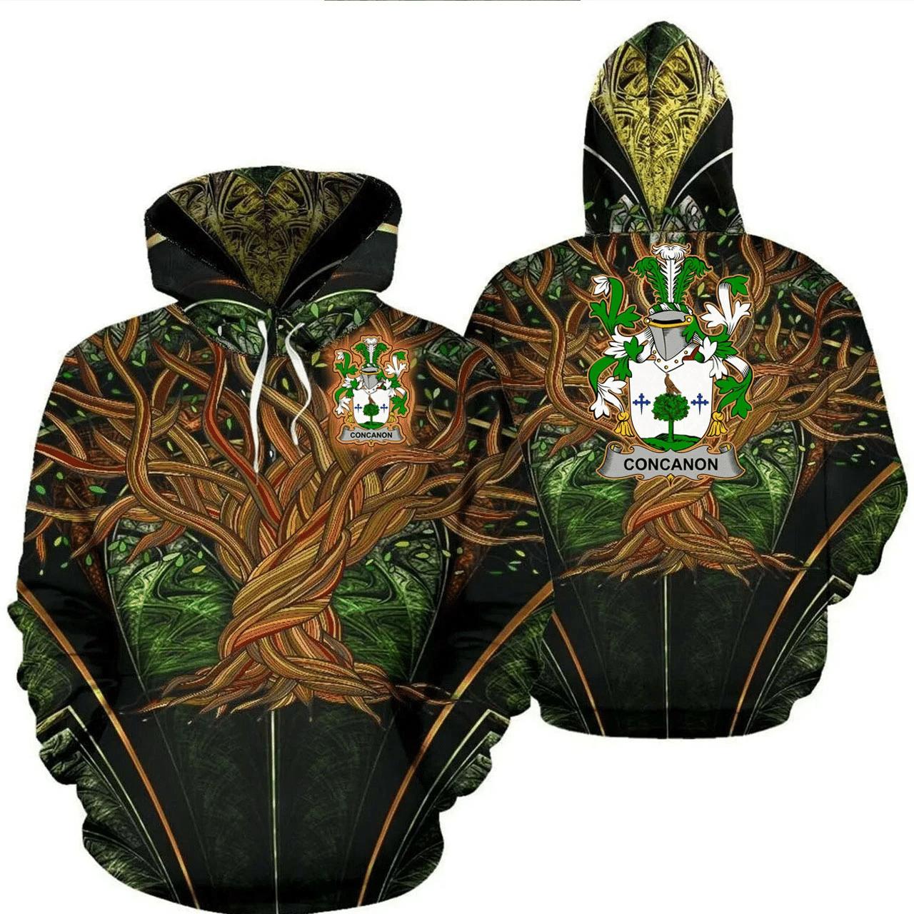 1stIreland Ireland Hoodie - Concanon or O'Concanon Irish Family Crest Hoodie - Tree Of Life A7