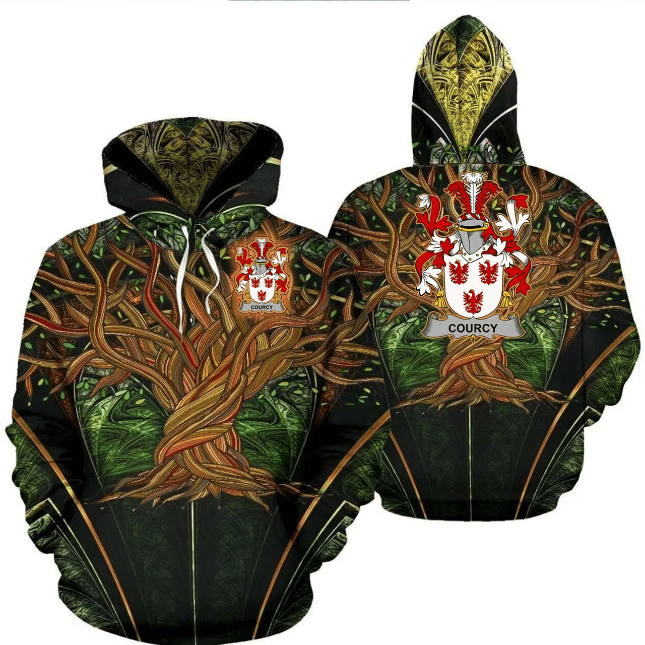 1stIreland Ireland Hoodie - Courcy (de) Lord Kingsale Irish Family Crest Hoodie - Tree Of Life A7