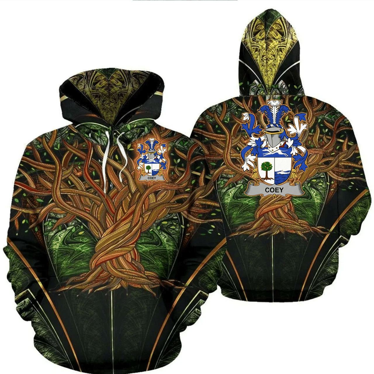 1stIreland Ireland Hoodie - Coey or McCoey Irish Family Crest Hoodie - Tree Of Life A7