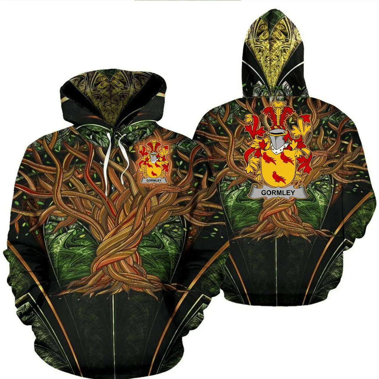 1stIreland Ireland Hoodie - Gormley or O'Gormley Irish Family Crest Hoodie - Tree Of Life A7