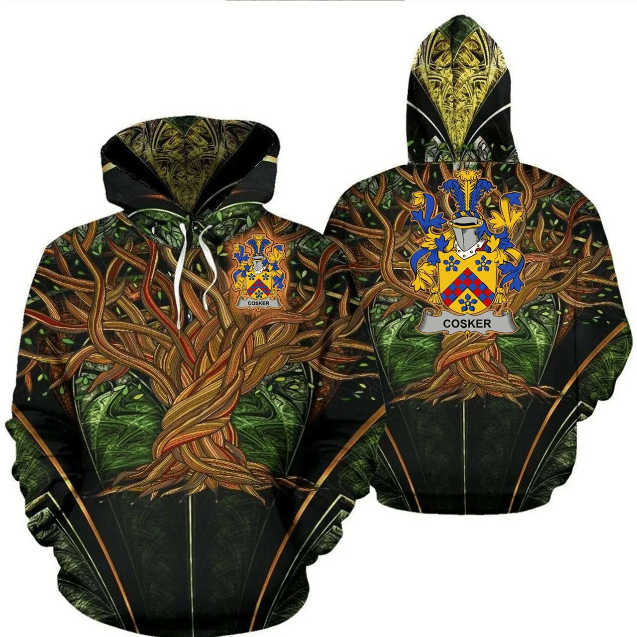 1stIreland Ireland Hoodie - Cosker or McCosker Irish Family Crest Hoodie - Tree Of Life A7