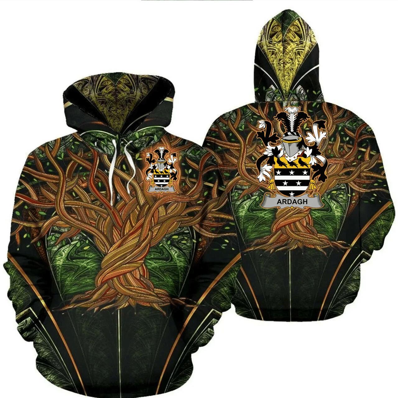 1stIreland Ireland Hoodie - Ardagh Irish Family Crest Hoodie - Tree Of Life A7