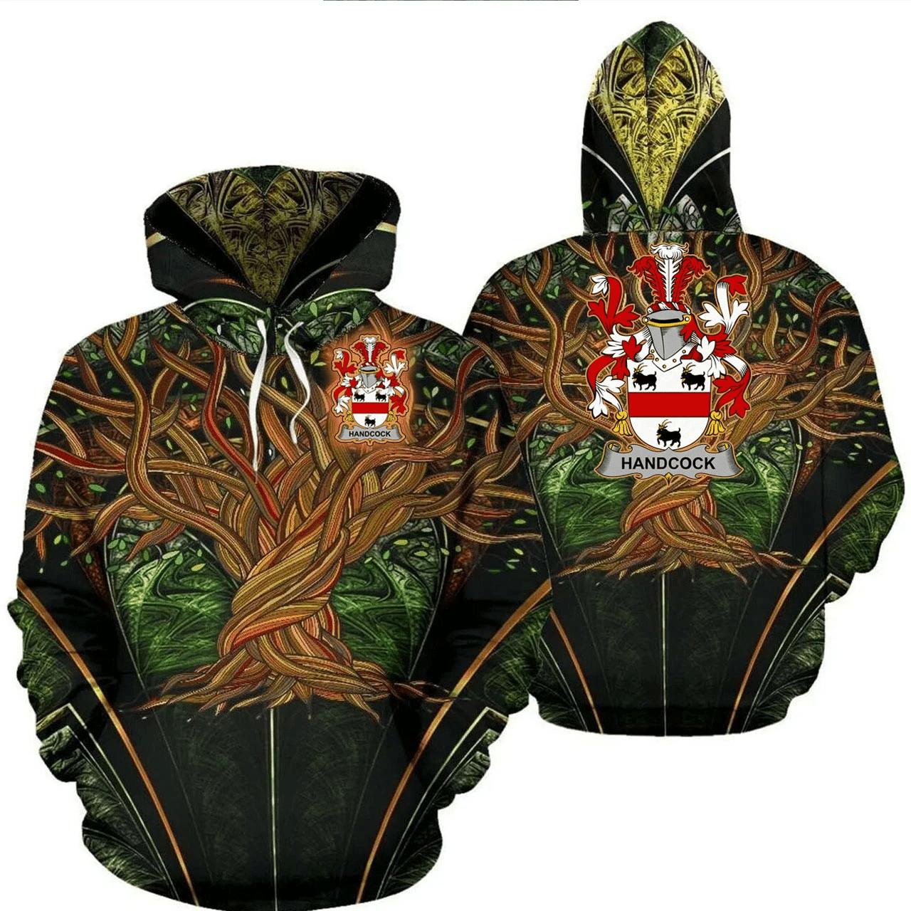 1stIreland Ireland Hoodie - Handcock Irish Family Crest Hoodie - Tree Of Life A7