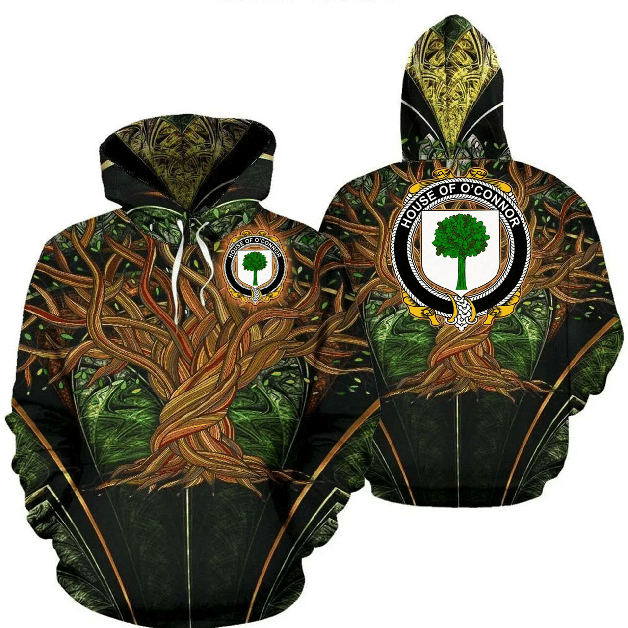 1stIreland Ireland Hoodie - House of O'CONNOR (Don) Irish Family Crest Hoodie - Tree Of Life A7