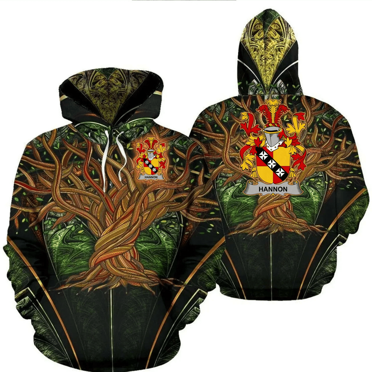 1stIreland Ireland Hoodie - Hannon or O'Hannon Irish Family Crest Hoodie - Tree Of Life A7