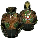 1stIreland Ireland Hoodie - Drury or McDrury Irish Family Crest Hoodie - Tree Of Life A7