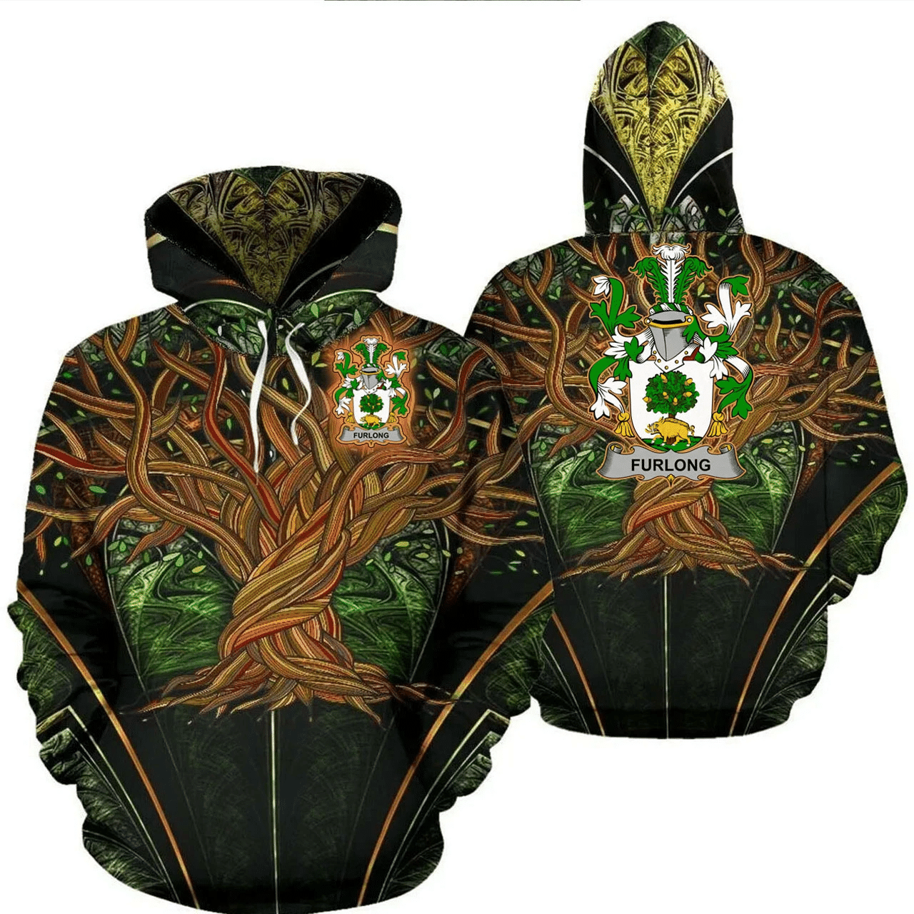 1stIreland Ireland Hoodie - Furlong Irish Family Crest Hoodie - Tree Of Life A7