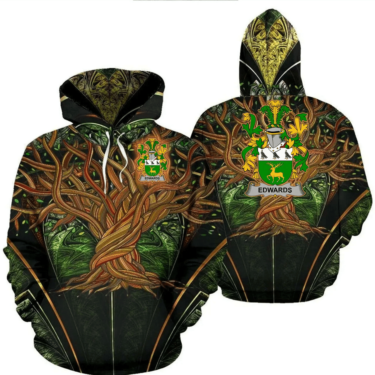 1stIreland Ireland Hoodie - Edwards Irish Family Crest Hoodie - Tree Of Life A7