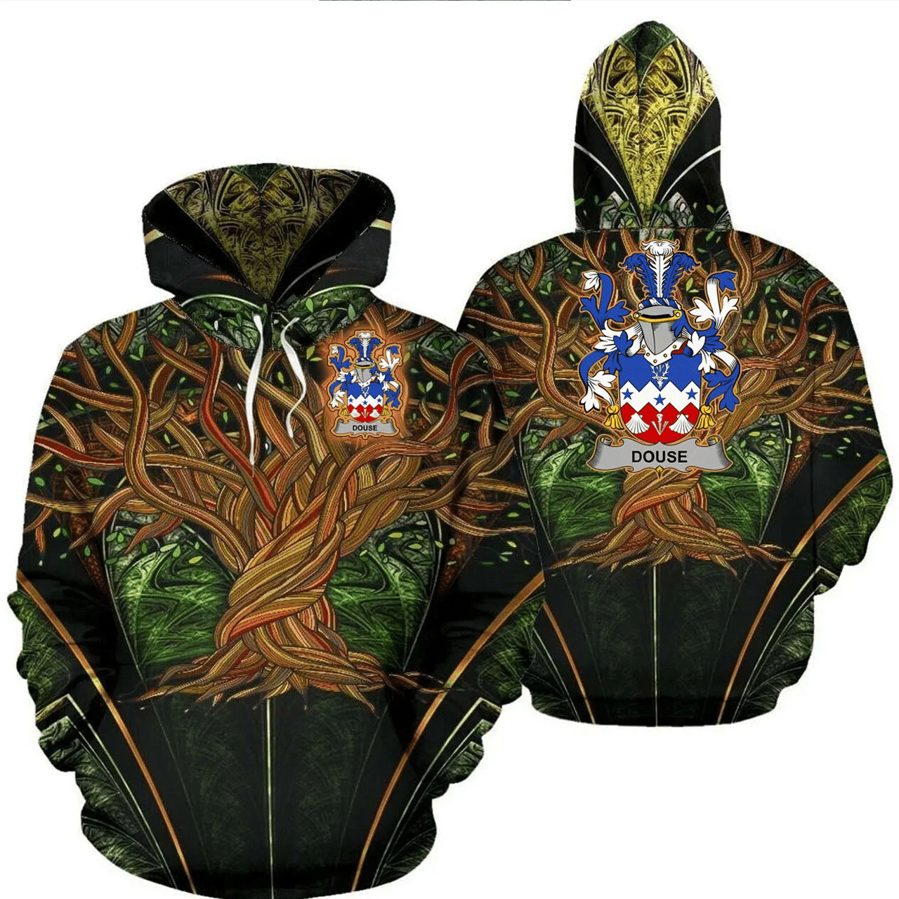 1stIreland Ireland Hoodie - Douse or Dowse Irish Family Crest Hoodie - Tree Of Life A7