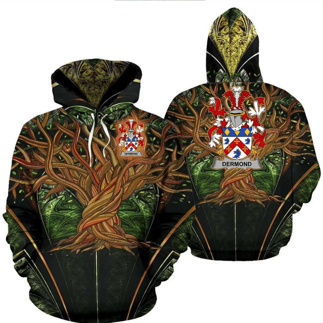 1stIreland Ireland Hoodie - Dermond or O'Dermond Irish Family Crest Hoodie - Tree Of Life A7