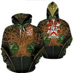 1stIreland Ireland Hoodie - Creagh Irish Family Crest Hoodie - Tree Of Life A7