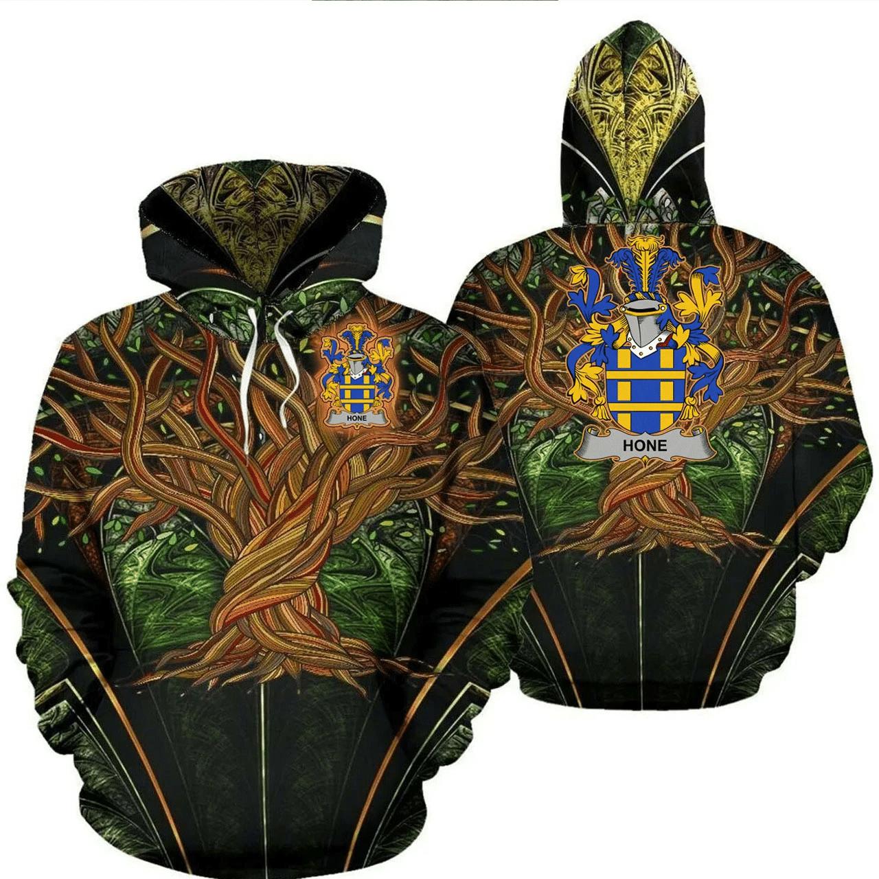 1stIreland Ireland Hoodie - Hone or O'Hone Irish Family Crest Hoodie - Tree Of Life A7
