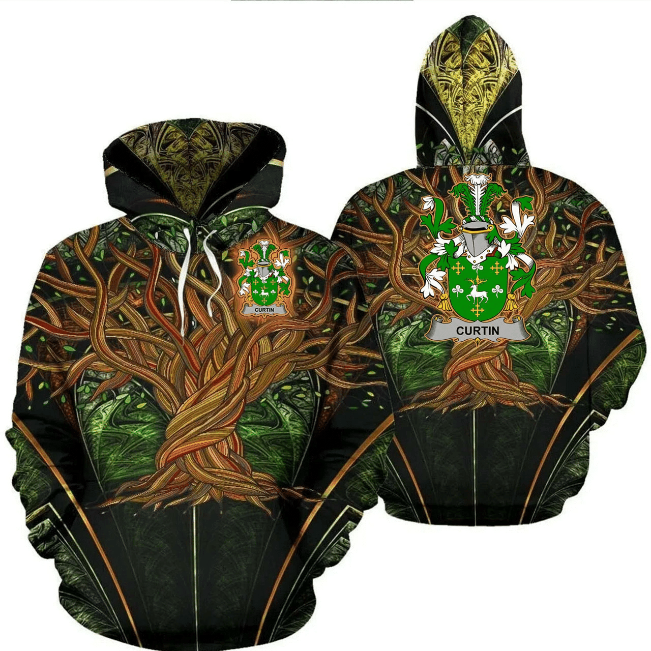 1stIreland Ireland Hoodie - Curtin or McCurtin Irish Family Crest Hoodie - Tree Of Life A7