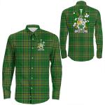 1stIreland Ireland Shirt - Flower Irish Crest Long Sleeve Button Shirt A7