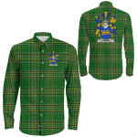 1stIreland Ireland Shirt - Currie or O'Currie Irish Crest Long Sleeve Button Shirt A7
