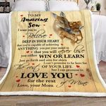 Personalized Deer Hug To My Amazing Son From Mom Sherpa Fleece Blanket  Achieving Anything You Put Your Mind To Great Customized Blanket Gifts For Birthday Christmas Thanksgiving
