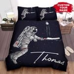 Personalized Astronaut Playing Cricket In Outer Space Bed Sheets Spread Comforter Duvet Cover Bedding Sets