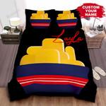 Personalized Chicken Nugget Bucket Illustration On Black Bed Sheet Spread Comforter Duvet Cover Bedding Sets