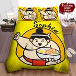 Personalized Sumo Wrestler Holding A Bowl Of Ramen Illustration Bed Sheet Spread Comforter Duvet Cover Bedding Sets
