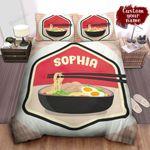 Personalized Ramen Badge Illustration Bed Sheet Spread Comforter Duvet Cover Bedding Sets