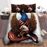 Personalized Eagle With American Flag Illustration Bed Sheets Spread Comforter Duvet Cover Bedding Sets