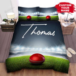 Personalized Red Leather Cricket Ball In The Stadium Bed Sheets Spread Comforter Duvet Cover Bedding Sets