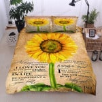 Personalized Sunflower To My Beautiful Daughter I Will Always There To Support You And You Will Always Be My Little Girl Love You Cotton Bed Sheets Spread Comforter Duvet Cover Bedding Sets