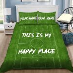 Personalized Football Pitches This Is My Happy Place Custom Bedding Set With Your Name Cotton Bed Sheets Spread Comforter Duvet Cover Bedding Sets