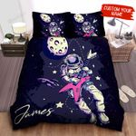Personalized Astronaut Playing Electric Guitar On The Moon Bed Sheets Spread Comforter Duvet Cover Bedding Sets