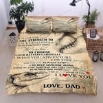 Personalized Dinosaurs To My Daughter From Dad Listen To Your Heart Cotton Bed Sheets Spread Comforter Duvet Cover Bedding Sets