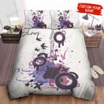 Personalized Watercolor Splash Artwork Of Electric Guitar Bed Sheets Spread Comforter Duvet Cover Bedding Sets