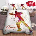 Personalized Cricket Player Silhouette In Watercolors Splash Art Bed Sheets Spread Comforter Duvet Cover Bedding Sets