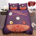Personalized Bowl Of Ramen And Ingredients Illustration Bed Sheet Spread Comforter Duvet Cover Bedding Sets