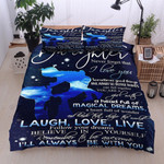 Personalized From Dad To Daughter Never Forget That I Love You Galaxy Silhouette Of Father And Daughter Cotton Bed Sheets Spread Comforter Duvet Cover Bedding Sets