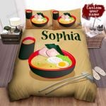 Personalized Bowl Of Ramen Chopsticks And Warm Cup Of Tea Illustration Bed Sheet Spread Comforter Duvet Cover Bedding Sets