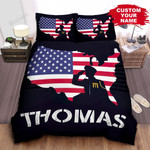 Personalized Veteran Shadow In Front Of Usa Flag Bed Sheets Spread Comforter Duvet Cover Bedding Sets