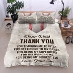 Baseball Dear Dad From Your Son Thank You For Believing Me Cotton Bed Sheets Spread Comforter Duvet Cover Bedding Sets