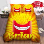 Personalized Cartoonish French Fries & Smiling Box Bed Sheet Spread Comforter Duvet Cover Bedding Sets
