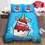 Personalized Cartoon Unicorn Ice Cream Bed Sheets Spread Comforter Duvet Cover Bedding Sets