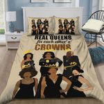 Queen Black Girl Real Queens Fix Each Other's Crown Cotton Bed Sheets Spread Comforter Duvet Cover Bedding Sets