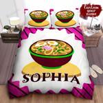 Personalized Bowl Of Ramen Simple Illustration Bed Sheet Spread Comforter Duvet Cover Bedding Sets