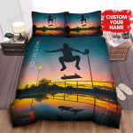 Personalized Skater Silhouette Reflection At Sunset Bed Sheets Spread Comforter Duvet Cover Bedding Sets