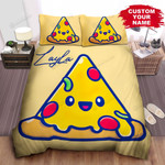 Personalized Happy Cartoon Slide Of Pizza Bed Sheet Spread Comforter Duvet Cover Bedding Sets