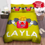 Personalized Chicken Nuggets Package With Dumbbells Cartoon Illustration Bed Sheet Spread Comforter Duvet Cover Bedding Sets