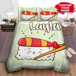 Personalized Cute Shrimp Sushi In Cartoon Character Bed Sheet Spread Comforter Duvet Cover Bedding Sets